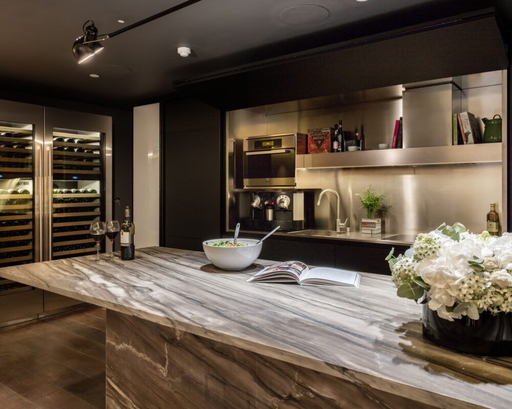 Kitchen with Crestron touch screen