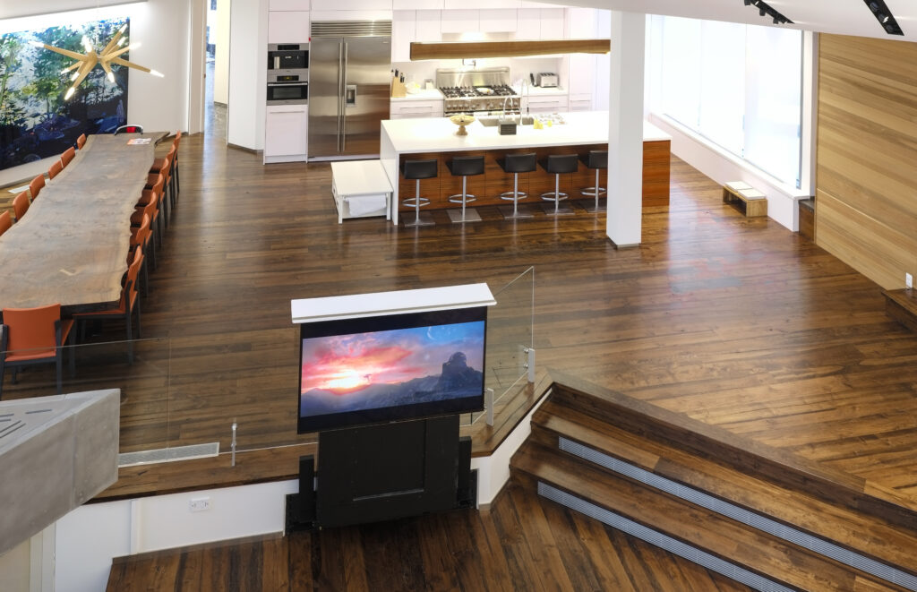 Hidden TV, kitchen and dining room