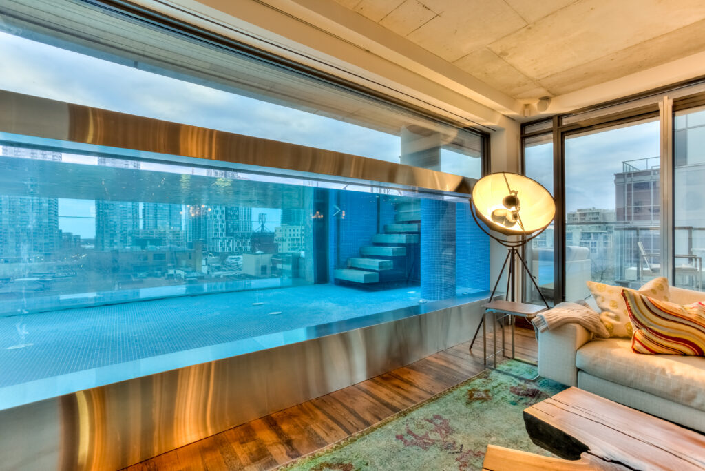 Window to interior of pool