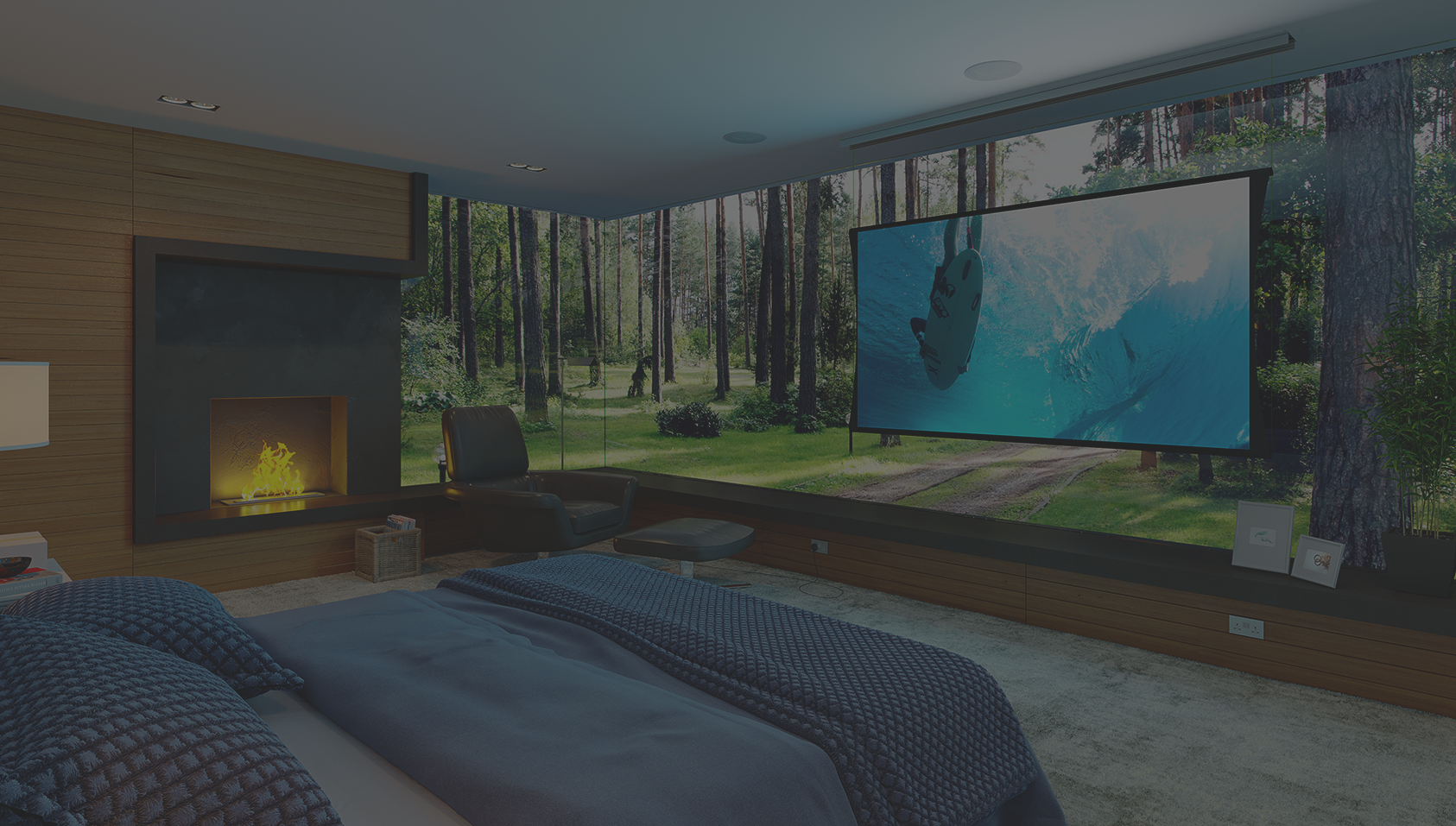 Bedroom with fireplace, and floating TV